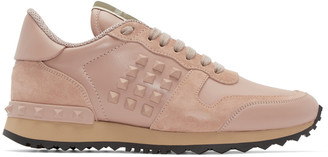 Valentino Pink Leather Rockstud Sneakers $795 thestylecure.com