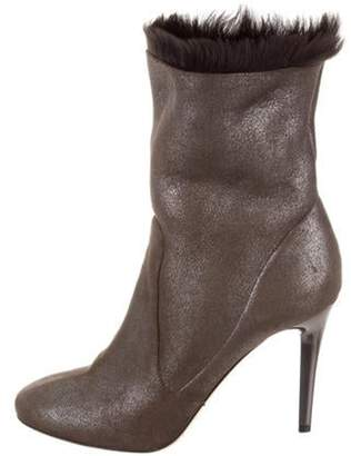 Jimmy Choo Tempo Shearling-Trimmed Ankle Boots Metallic Tempo Shearling-Trimmed Ankle Boots