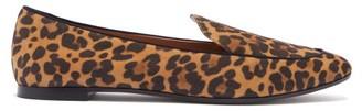 Aquazzura Purist Leopard Print Suede Loafers - Womens - Leopard