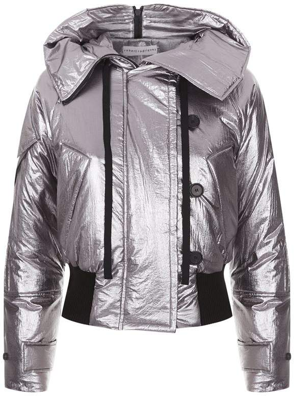 Cropped Metallic Puffer Jacket