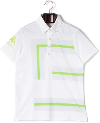 Kappa (カッパ) - Kappa ストレッチ ラインデザイン ボタンダウン 半袖ポロシャツ ホワイト m