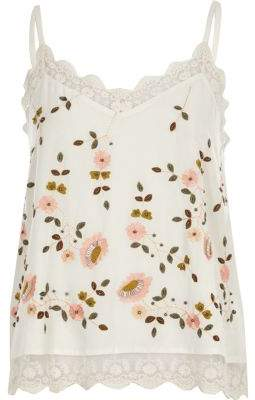 River IslandRiver Island Womens Cream floral embroidered cami top
