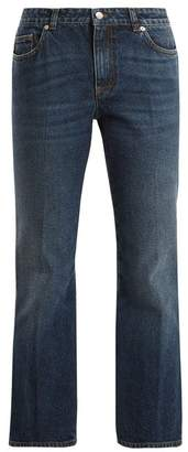 Alexander McQueen Mid Rise Cropped Kick Flare Jeans - Womens - Blue