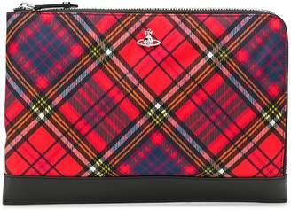 Vivienne Westwood tartan logo clutch bag