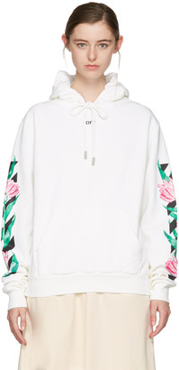 Off-White White Diagonal Tulips Hoodie $590 thestylecure.com