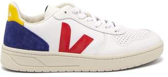 Veja V 10 Low Top Leather Trainers - Womens - White Navy