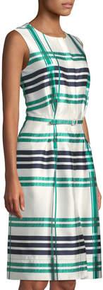 Oscar de la Renta Sleeveless Plaid Sateen Midi Dress, Green