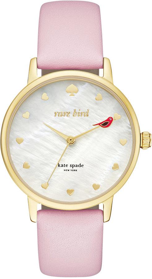 Kate Spadekate spade new york Women's Metro Pink Leather Strap Watch 34mm KSW1255