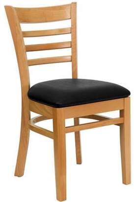 Flash Furniture Ladder Back Chairs - Set of 2, Natural / Black Vinyl Seat