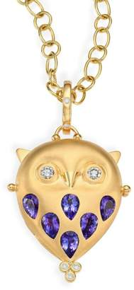 Temple St. Clair Tanzanite, Diamond & 18K Yellow Gold Owl Locket