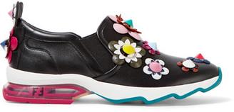 Fendi - Embellished Appliquéd Leather Slip-on Sneakers - Black $1,050 thestylecure.com
