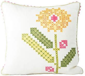 One Kings Lane Vintage Faux-Embroidery Floral Accent Pillow - Madcap Cottage