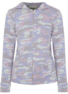 Monrow Printed Stretch-Jersey Hooded Jacket