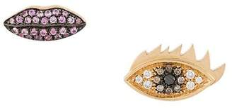 Delfina Delettrez 18kt yellow gold, diamond and sapphire Anatomik lips and eyes stud earrings