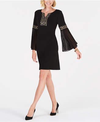 JM Collection Beaded Bell-Sleeve Dress