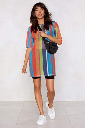 Nasty Gal As High As the Rainbow Striped Dress