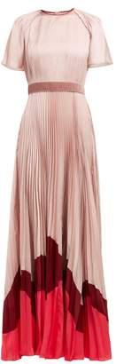 Roksanda Zari Pleated Satin Gown - Womens - Pink Multi