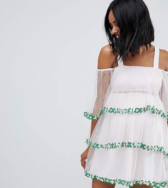 Asos DESIGN Maternity dobby mesh lace trim mini dress