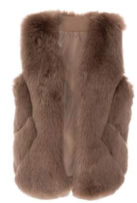 Quiz Mocha Faux Fur Chevron Gilet