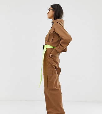 Collusion COLLUSION high waist wide leg pant with belt