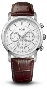 HUGO BOSS 1512871 Chronograph Brown Croc-Embossed Leather Strap Slim Watch One Size Assorted-Pre-Pack