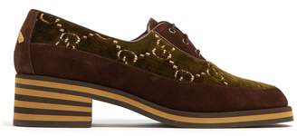Gucci Thompson logo-jacquard velvet derby shoes