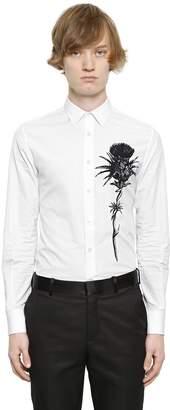 Alexander McQueen Flower Printed Cotton Poplin Shirt