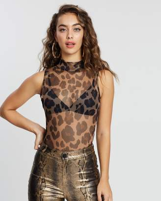 Missguided Sleeveless High Neck Print Bodysuit