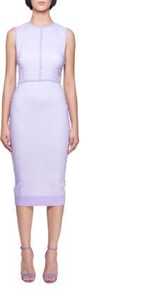 Victoria Beckham Sleeveless Crewneck Fitted Dress with Organza Overlay