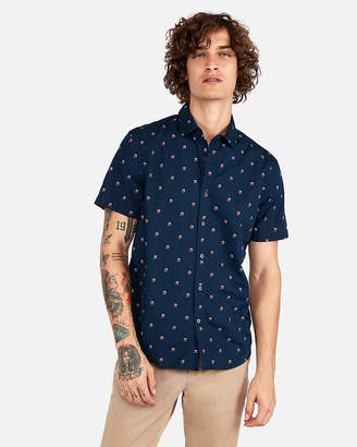 Express Classic Square Print Short Sleeve Shirt