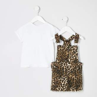 River Island Mini girls leopard print pinafore outfit