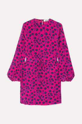 Diane von Furstenberg Cara Printed Silk Crepe De Chine Mini Dress - Pink