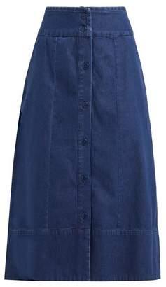 A.P.C. Knight Button Through Denim Skirt - Womens - Indigo