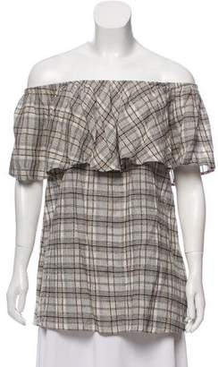 Reformation Plaid Off-The-Shoulder Tunic