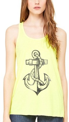 Clementine Apparel Women's Anchor Printed Racerback Tank Top