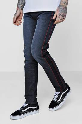 boohoo Skinny Fit Jeans With Taped Side Seam