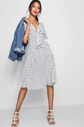 boohoo Knot Front Polka Dot Midi Dress