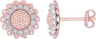 Laura Ashley Jewelry Sterling 1/8 cttw Diamond Flower Earrings