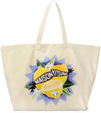 MAISON KITSUNÉ Limone Printed Cotton-Canvas Tote Bag