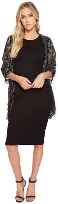 Betsey Johnson Sequin Scallped Edge Crochet Evening Wrap Women's Clothing