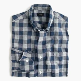 Slim end-on-end Irish cotton-linen shirt in blue plaid $69.50 thestylecure.com