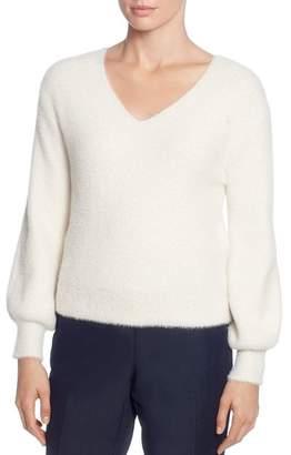 T Tahari Fuzzy Knit V-Neck Sweater