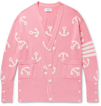 Thom Browne Oversized Intarsia Cashmere Cardigan - Men - Pink