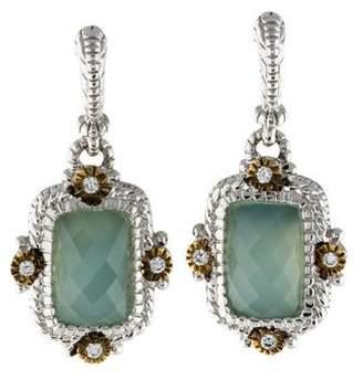 Judith Ripka Chalcedony & Diamond Drop Earrings