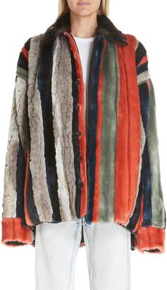 Y/Project Oversized Multicolor Faux Fur Jacket