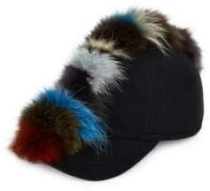 Fox Fur and Wool Baseball Cap