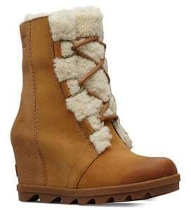 Sorel Joan Wedge II Shearling-Lined Leather Hiking Boots