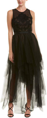 BCBGMAXAZRIA Tiered Tulle Gown