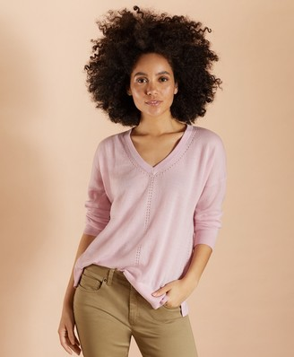 Brooks Brothers Merino Wool Pointelle-Detail V-Neck Sweater