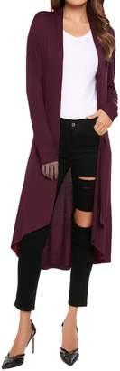 Meaneor Women's Long Sleeve Open Front Drape Lightweight Duster Cardigan XL